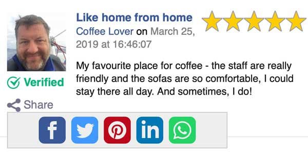 Share reviews with a click
